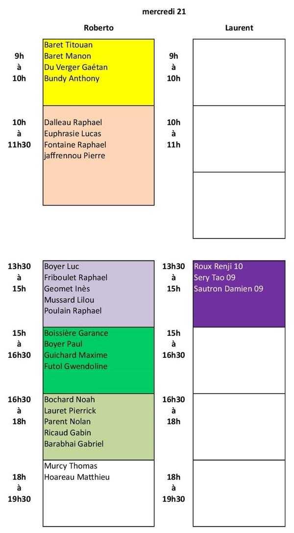 Rattrapage école de tennis (19 au 23 mars)