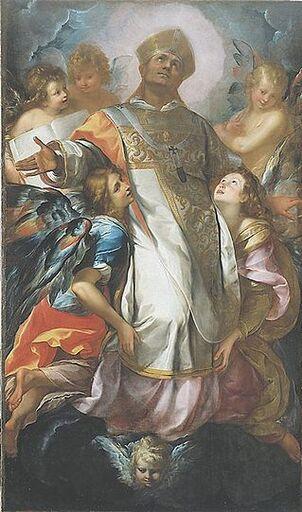 Tableau en couleur. Un personnage debout coiffé d'une myrte est entouré de trois chérubins ailés. À ses pieds deux sujets agnuillés et ailés le regarde.