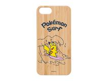Coque en bois téléphone Pikachu surfeur