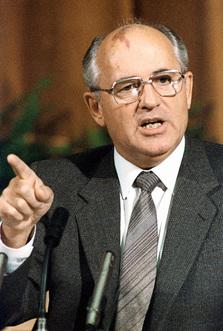 Mikhaïl Gorbatchev lors d'une conférence à Reykjavik, en 1986.