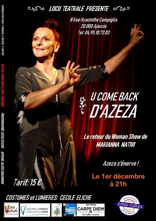 01 Décembre 2018 à 21h - U COME BACK D'AZEZA