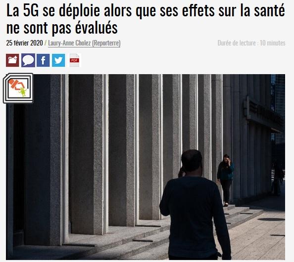 Reporterre >>>   La 5G se déploie alors que ses effets sur la santé ne sont pas évalués