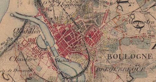 Boulogne - Carte de l'état-major 1820-1866 (geoportail.gouv.fr)