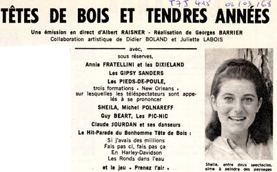 06 mars 1968 / TETES DE BOIS & TENDRES ANNEES