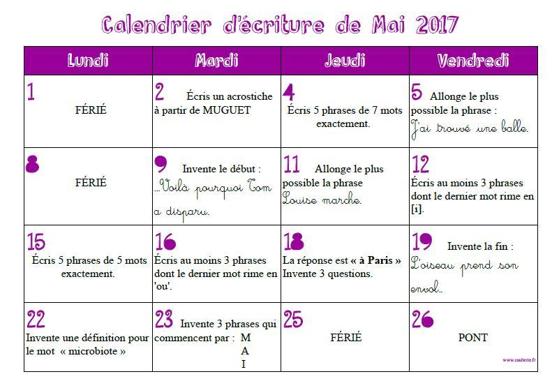 Calendrier d'écriture de mai 2017 - CE