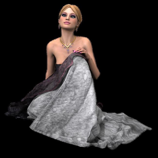 Tube de femme romantique (render-image)