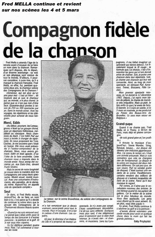 Mars 1987... Fred Mella rechantait en Belgique, en solo !