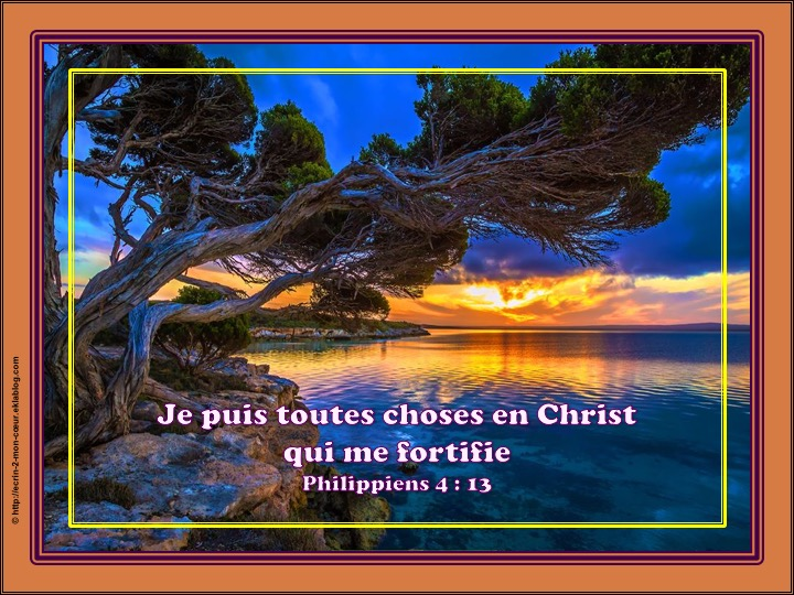 Je puis toutes choses en Christ qui me fortifie - Philippiens 4 : 13