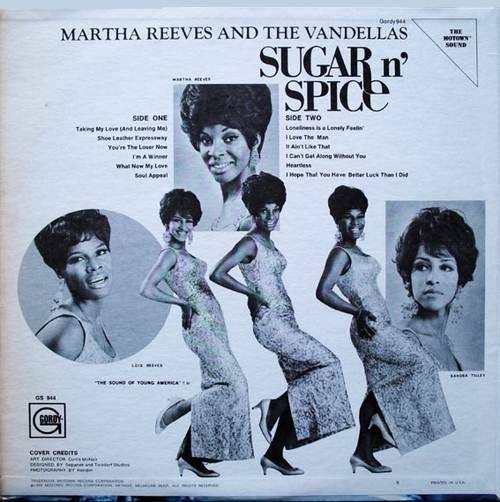 "Martha Reeves & The Vandellas : Album "" Sugar N' Spice "" Gordy Records GLPS 944 [ US ]"