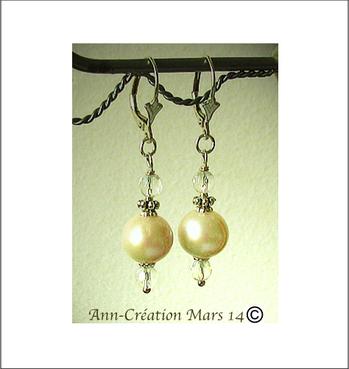 Boucles Dormeuses Perles de Culture Blanches, Cristal de Roche / Argent 925
