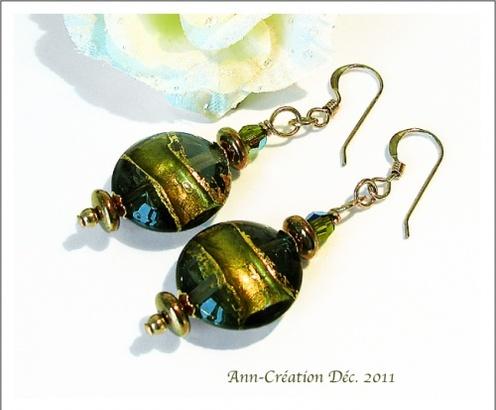 Boucles d'Oreilles Verre de Murano authentique Vert Olive / Plaqué Or 14kt GF