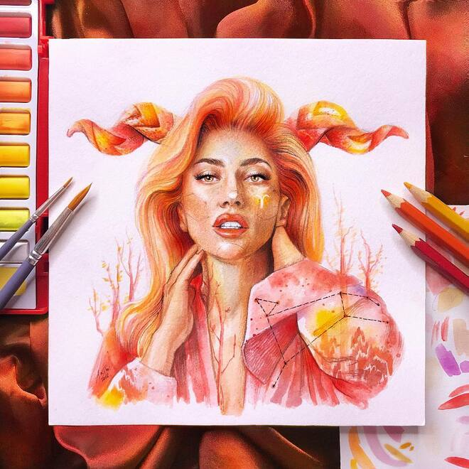 color pencil drawing lady gaga