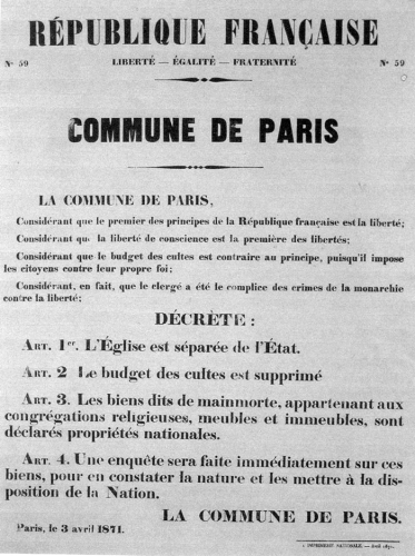 Séparation Etat-Eglise, Commune de Paris