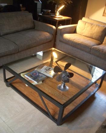 Table basse acier et bois et verre O'range Metalic Mobilier Industriel