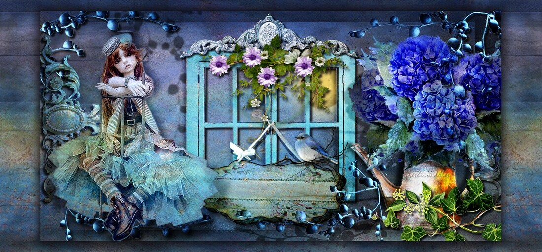 Entêtes sur fond bleu hortensia série  / J'ai demandé à la lune...