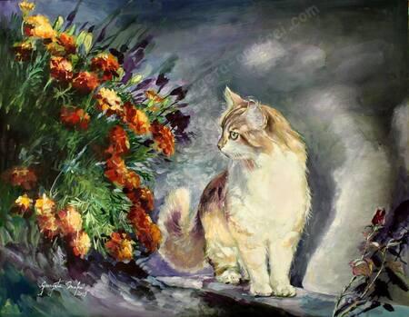 Tableau du samedi : Le chat dans le jardin