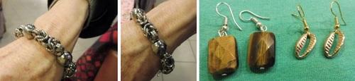 bracelet en métal - boucles d'oreilles oeil de tigre à façettes et BO cauri de couleur Or
