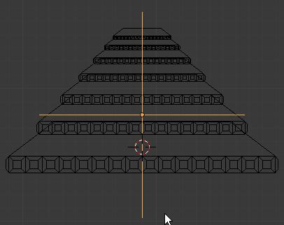Diminuer la taille de l'empty pour former la pyramide