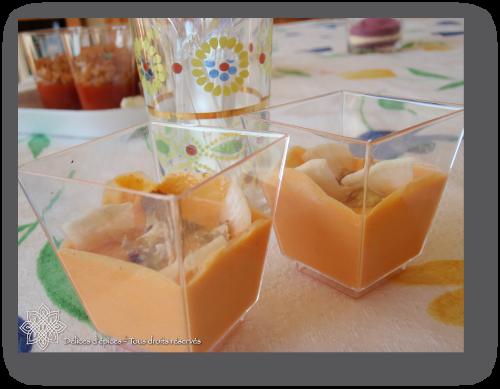 Verrines à la crème de chèvre et de poivrons