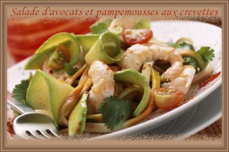 Recette de cuisine : Salade d'avocats et pampemousses aux crevettes
