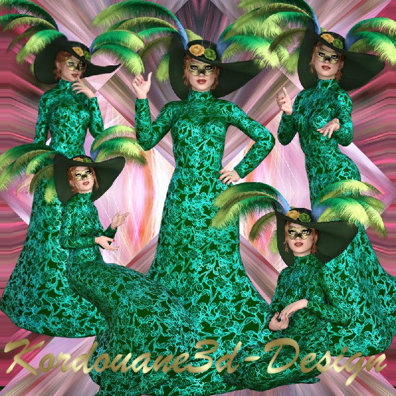 Femme masquée en vert (tube-poser)