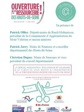La 1ere ressourceries des Hauts de Seine, ouverture le 5 Déc !