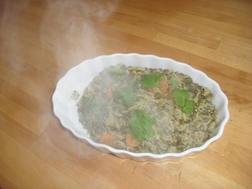 curry de lentille et riz au petit légumes...pour un apport en protéine végétales