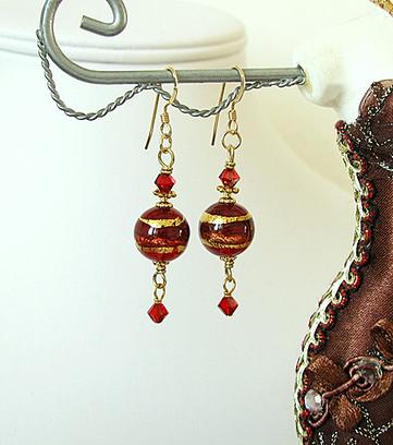 Boucles Verre de Murano authentique Rouge Feuille d'Or  24 Kt / Plaqué Or 14 kt Gold Filled