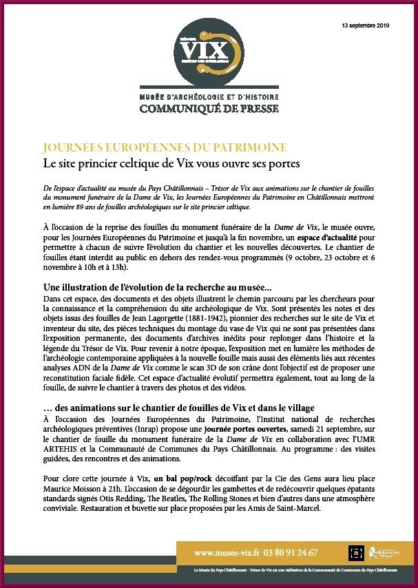 Le site princier de Vix vous ouvre ses portes pour les journées du Patrimoine !