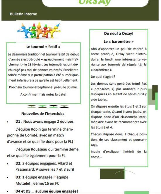 Bulletin d'Orsay du 17/03/2018