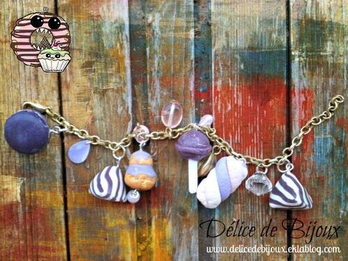 Bracelet goumand fimo délice violet: religieuse, berlingot, sucette chupa chup, guimauve, macaron