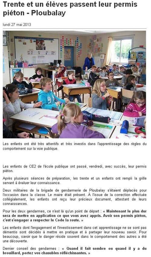 OUEST FRANCE - 27/05/2013 - Trente et un élèves passent leur permis piéton