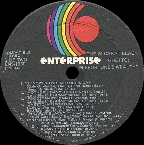 "The 24-Carat Black : Album "" Ghetto Misfortune's Wealth "" Enterprise Records ENS-1030 [ US ]"