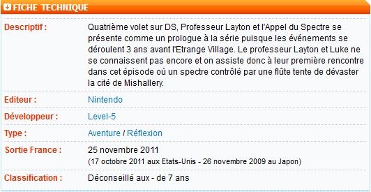 Professeur Layton (1, 2, 3 et 4) - NDS