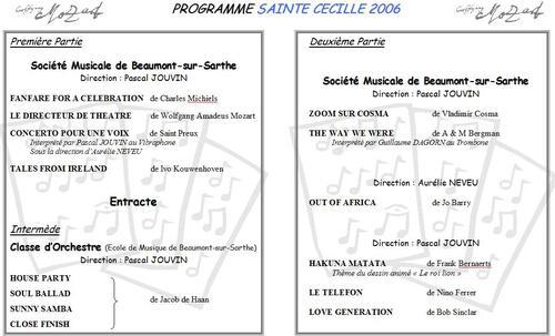 Programme Concert Sainte Cécile 2006