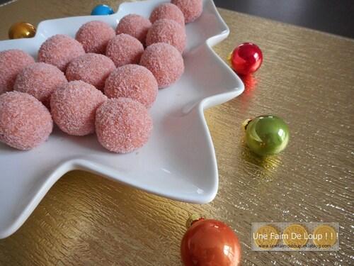 Les truffes aux biscuits roses
