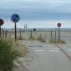 """Fin de la piste cyclable"""" Du Léman a la Mer"""", sur la plage de Port st Louis"""