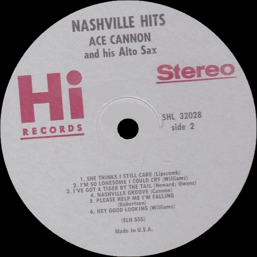 "Ace Cannon & His Alto Sax : Album "" Nashville Hits "" Hi Records SHL 32028 [ US ]"