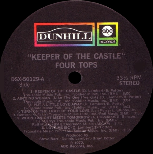 "The Four Tops : Album "" Keeper Of The Castle "" ABC Dunhill Records DSX-50129 [ US ]"