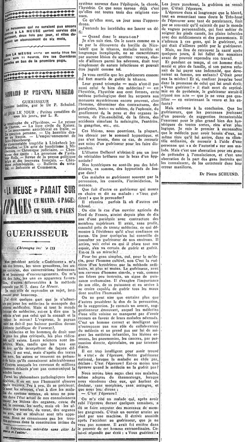 Dr. Pierre Schuind - Guérisseur (La Meuse, 3 juin 1910)(Belgicapress)