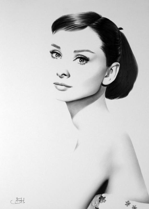 Audrey Hepburn Fine Art impression crayon dessin Portrait main signée par l'artiste