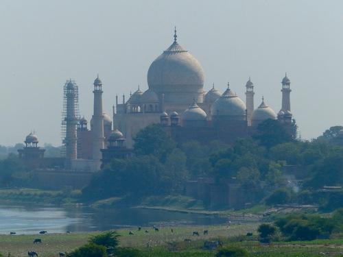 le Taj Mahal depuis le fort rouge, à Agra