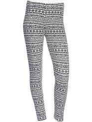Legging stretch imprimé ikat noir/blanc Fille