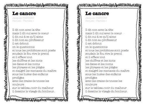 le cancre, Jacques Prévert - poésie de rentrée en ce1-ce2