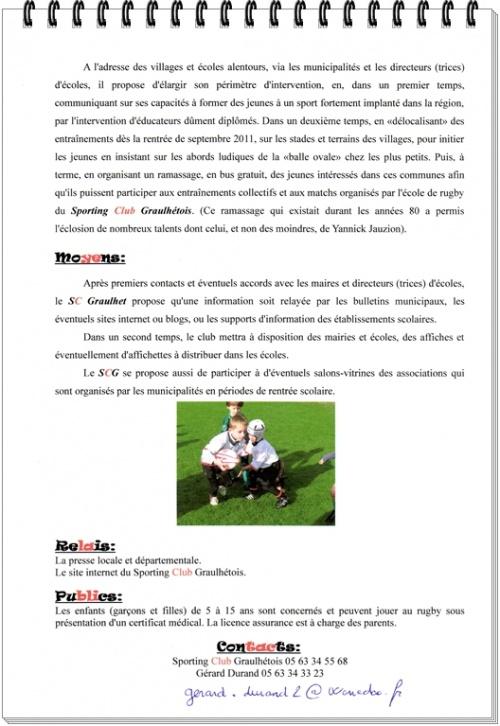 Projet Ecole de Rugby
