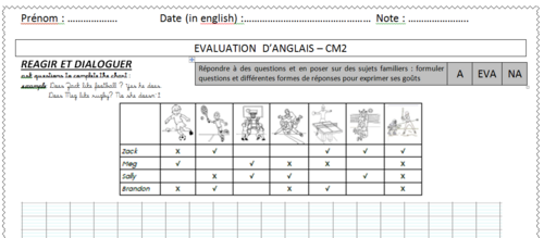 evaluation anglais : sports /like ...