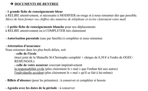 Documents de rentrée à ramener