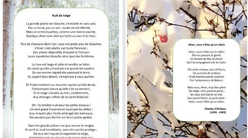 Deux nouvelles poésies sur l'hiver