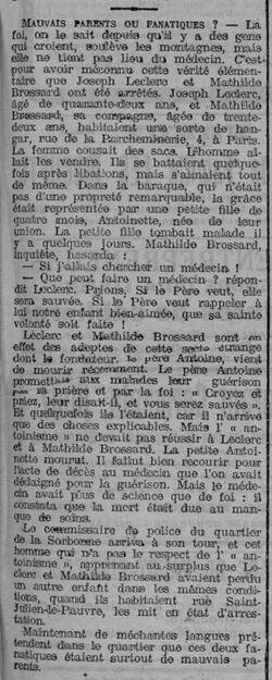 Mauvais parents ou fanatiques (L'Est Républicain 25-07-1912)