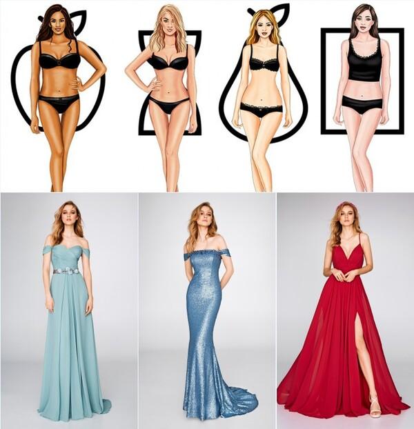 différentes robes de soirée pour différentes silhouettes